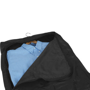 Opened main compartment showing neatly hung dress shirt - Tri-Fold Garment Bag - mercury luggage