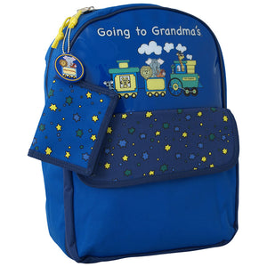 "zoomed out view showing ""going to grandmas"" graphic on front. Cute dot design shown on front pocket flap - Going To Grandma's Backpack, Blue"