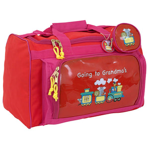 "zoomed out view showing ""going to grandmas"" graphic on the side - Going To Grandma's Duffel Bag, Red"