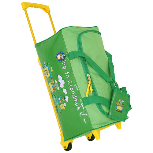 upright view with graphic on the side - Going To Grandma's Duffel Bag with Wheels, Green