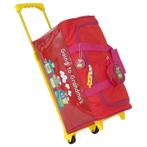 "zoomed out view with ""going to grandmas"" graphic on the side - Going To Grandma's Duffel Bag with Wheels, Red"