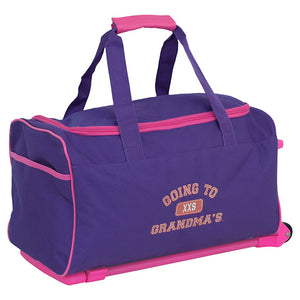 "Front view showing words ""going to grandmas"" on side - Going To Grandma's Duffel Bag with Wheels, Purple"