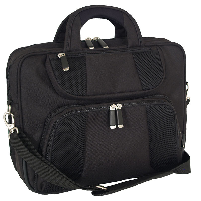 Front view showing two zippered pockets- Attaché Computer Case