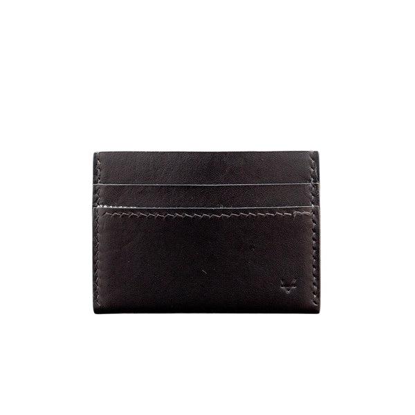 Ultra Compact Black Leather Wallet, Houndstooth lining - Vincent Brothers (black thread)