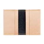 Compact Leather Wallet, Flathead Denim - Vincent Brothers (yellow thread)