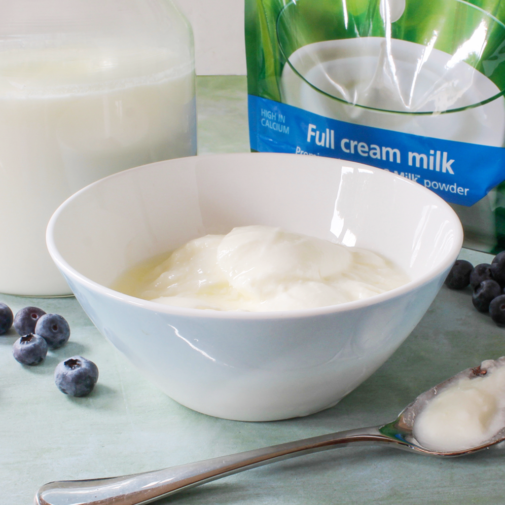 Make probiotic yogurt anytime with dry milk powder