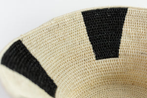 Small Black and White Striped Sisal Basket by Gabile