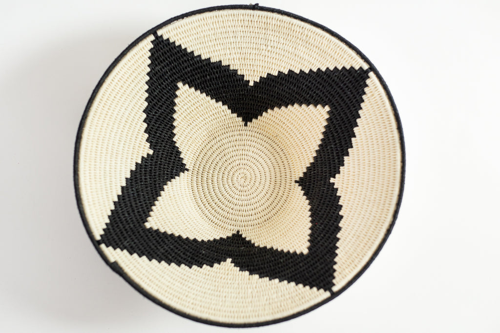 Large Black and White Sisal Basket by Alice