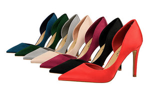 New Spring European Slim High Heels Silk Elegant OL Shallow Pointed Fashion Pumps - Tania's Online Closet
