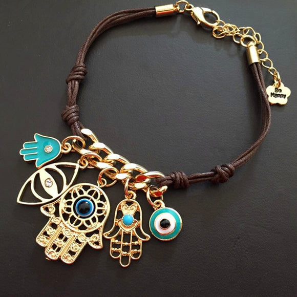 New Arrival Brown Rope Blue Evil Eye Palm Charm Bracelets - Tania's Online Closet