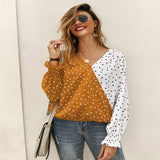 Women Dot Polk Ladies Shirt Casual Ladies Shirts - Tania's Online Closet