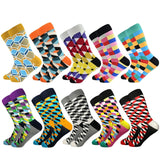 Hot Sale Casual Men Socks fashion design Plaid Colorful Cotton Socks - Tania's Online Closet