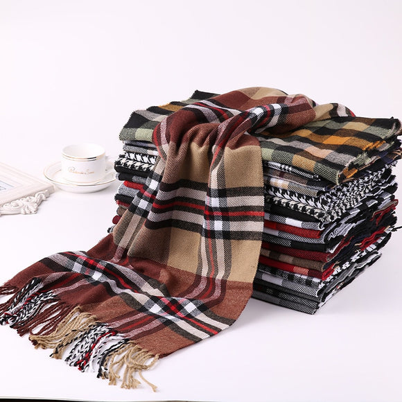2020 Luxury Brand Men's Winter Plaid Scarf Cashmere shawls Scarves - Tania's Online Closet
