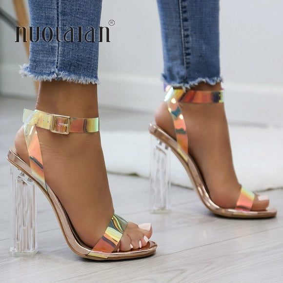 2019 Summer PVC Clear Transparent Strappy High Heels Shoes Women - Tania's Online Closet