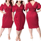 Plus Size Vintage Dress V Neck Hollow Out Tight Slim Midi Dress - Tania's Online Closet