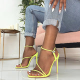 Women Sexy Thin Heels Sandals New Candy Color High Heel - Tania's Online Closet, LLC