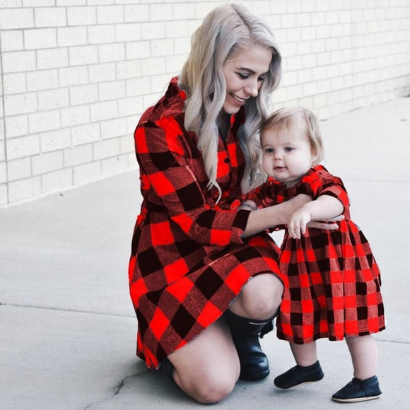 2020 Long Sleeve Christmas Plaid Matching Dress Outfits Mommy And Me