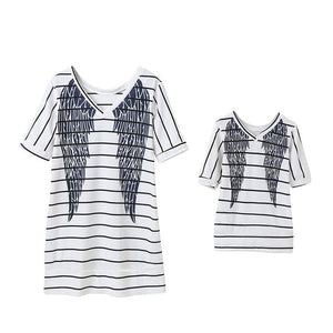 2020 Mother Daughter Short Sleeve Striped Dress Matching Outfits Wings Dresses - Tania's Online Closet, LLC