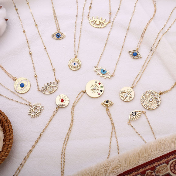 2020 New Fashion Ladies Chic Gold Chain Filled Evil Eye Coin chains - Tania's Online Closet