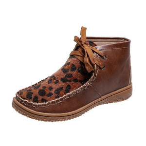 New Round Head Leopard Print Leather Boots Winter Ankle Boots for Women with Flat Bottoms - Tania's Online Closet, LLC