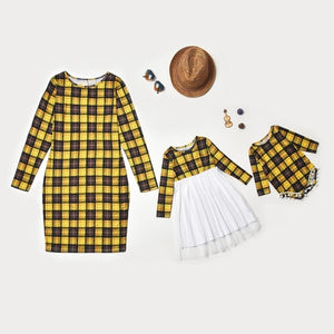 2020 New Year Family Look Lace Dresses Clothes Matching Outfits Long Sleeve Plaid  For Mother And Daughter - Tania's Online Closet, LLC