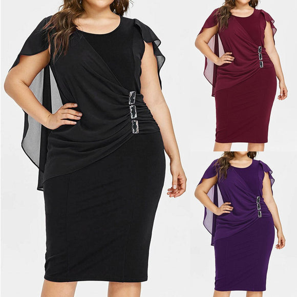 2020 Dress Casual Chiffon Plus Size Solid O-Neck Sleeveless Loose Dresses - Tania's Online Closet