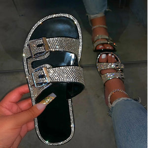 Women Slippers Bling Casual Women Slides Flat Sandals Summer Shoes - Tania's Online Closet, LLC