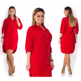 Plus Size Autumn Fashion Long Sleeve Solid Casual Dress - Tania's Online Closet, LLC