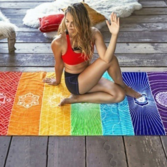 Single Rainbow Chakra Tapestry Ravel Yoga Mat - Tania's Online Closet, LLC