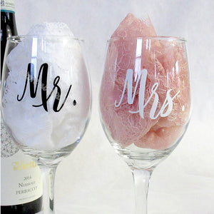 Mr & Mrs Wine glasses Sticker Newlyweds Engagement Wedding Gift Champagne glass - Tania's Online Closet, LLC