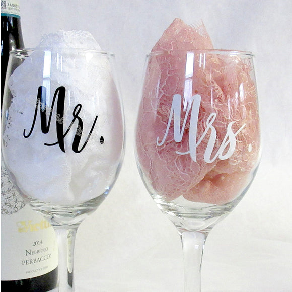 Mr & Mrs Wine glasses Sticker Newlyweds Engagement Wedding Gift Champagne glass - Tania's Online Closet