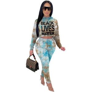 Letter Tie Dye Print Two Piece Sets for Women - Tania's Online Closet, LLC