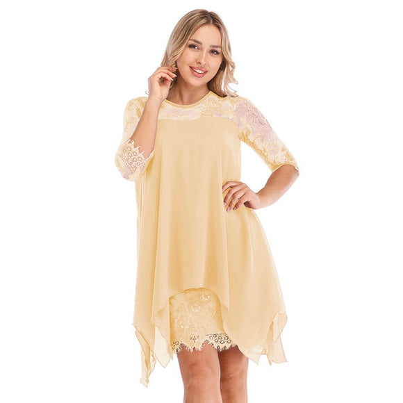 Women Fashions Half Sleeves Semi Sheer Lace Plus Size Chiffon Dresses - Tania's Online Closet, LLC