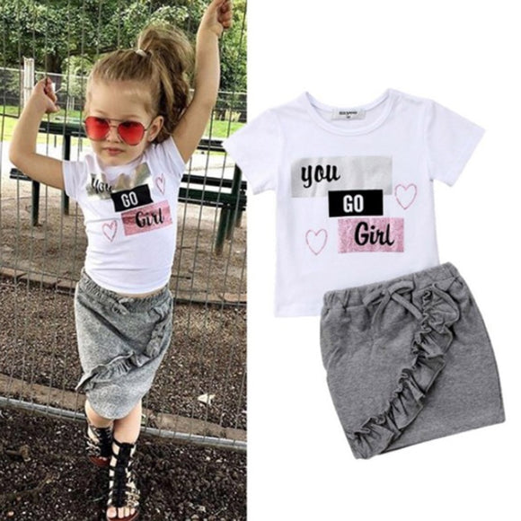 Children Set Short Sleeves Tops T-shirt Denim Skirt Set 1-6Y - Tania's Online Closet