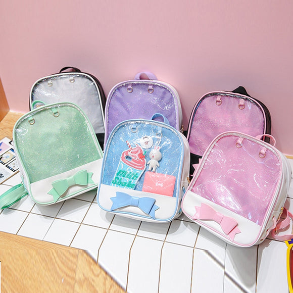 Clear Transparent Backpacks Bow-knot Bags School Bags - Tania's Online Closet