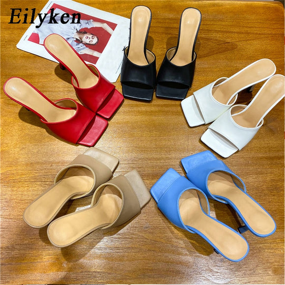 2020 Cozy Soft PU Leather Square Toe Women High Heels - Tania's Online Closet