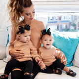 Mother Daughter Matching  Off Shoulder Blouse Sweater - Tania's Online Closet, LLC