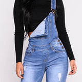 Jeans overall Female Hole Slimming Washed Denim skinny Jeans - Tania's Online Closet