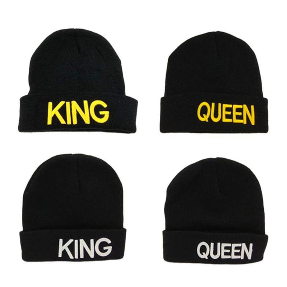 Unisex Hat Letter KING QUEEN Print Couple Cap Beanies - Tania's Online Closet