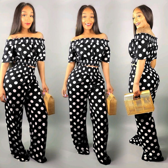 Fashion Women  Polka Dot Loose Two Piece Slash Neck Casual Outfits - Tania's Online Closet, LLC