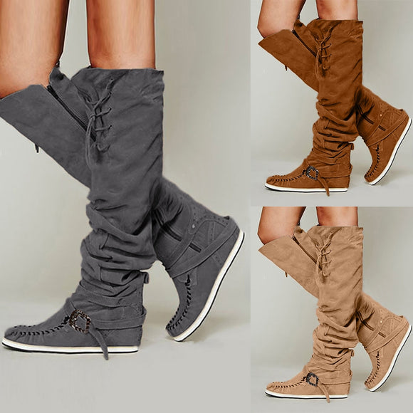 Fashion comfortable Flat Flock Round Toe Lace-Up Knee Boots - Tania's Online Closet, LLC