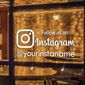 Follow Us On Instagram Decal, Personalized Instagram Vinyl Sticker, Custom Window Decal For Shop - Tania's Online Closet