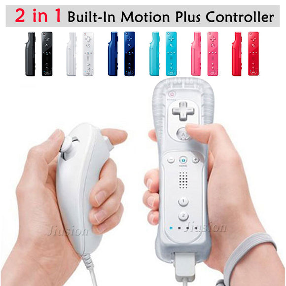For Nintendo Wii 2 in 1 Wireless Remote Controllers Built-in Motion Plus Nunchuck - Tania's Online Closet, LLC