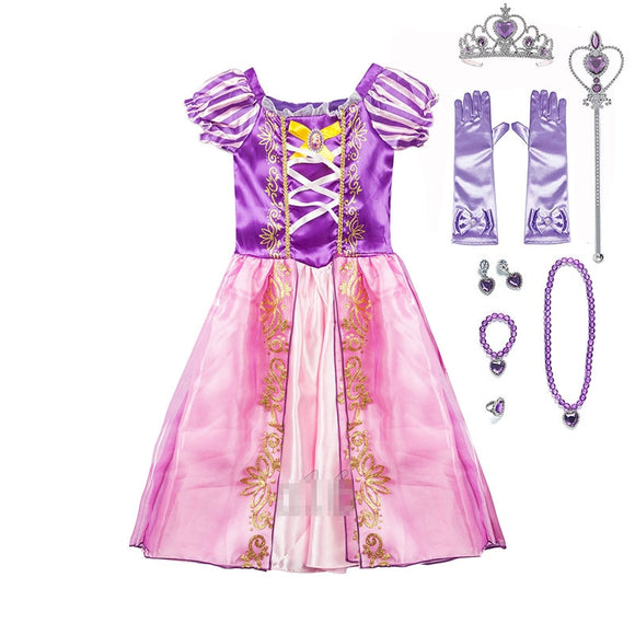 Girls Princess play Dresses & Crowns & Jewelry Kids pretend play - Tania's Online Closet, LLC