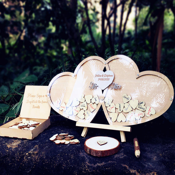 Guestbook Wedding Personalized Wedding Deco Custom Wood Guestbook Sign with Pen Set - Tania's Online Closet, LLC