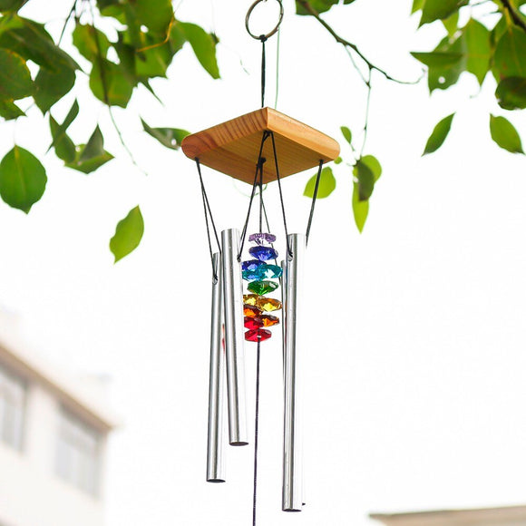 H&D Wind Chimes with Rainbow Chakra Sun Catchers Crystal Ball Prism Windchime - Tania's Online Closet, LLC