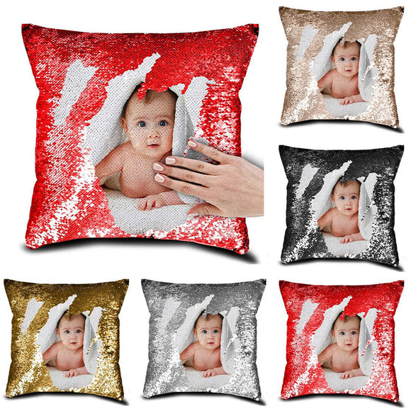 (Personalized Customized)  Personalized Sequin Printed Pictures Designs On The Pillow Case Cover - Tania's Online Closet