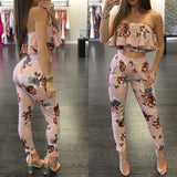 New Fashion Casual Women Suit Sexy Two-piece Outfits Strapless Crop Top - Tania's Online Closet