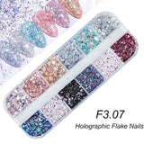 Holographic Nail Glitter Flakes Sequin 12pcs - Tania's Online Closet, LLC