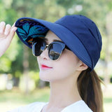 summer sun hat adjustable wide-brimmed beach hat UV protection sun visor hat - Tania's Online Closet
